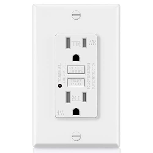 ELECTECK Weather Resistant GFCI Outlet, Outdoor GFI with LED Indicator, 15-Amp Tamper Resistant Receptacle, ETL Certified, White