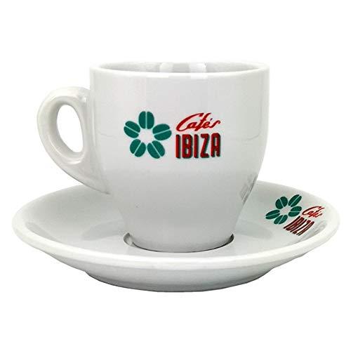 Milchkaffee Tasse Cafés Ibiza aus weißer Keramik (120 ml)