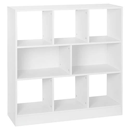 WOLTU SK021ws Bücherregal Raumteiler Regal Bücherschrank Standregal Lageregal Aufbewahrungregal mit 8 Fächern Aktenregal für Wohnzimmer, Kinderzimmer und Büro, Weiß