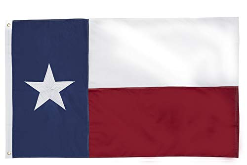 State of Texas 4x6 Feet Flag - Embroidered Sewn Heavyweight 210D Oxford Nylon Flag Vivid Color - Brass Grommets and 4 Stitch Hemming USA Flag