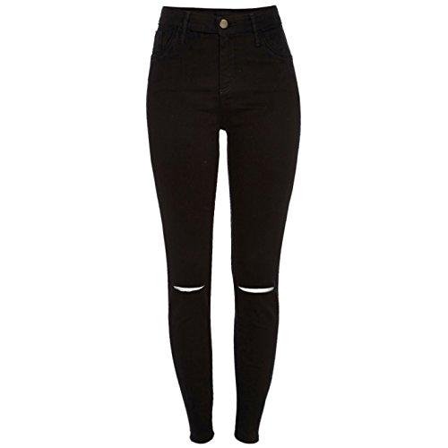 Nieuwe dames skinny hoge taille stretch enkel jeans Jeggings in zwart of wit maat 6-16 (UK6 / EU34, zwart uitgesneden)