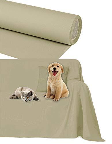 Byour3 Funda de sofá Impermeable - protección para Sofás por Mascotas Niños Protector hidrófugo en Algodon Antimanchas Antideslizante para Pelo Gatos Perros (Arena, 2/3 plazas 300x300cm)
