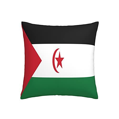 Kissenbezug mit Flagge von Westsahara, quadratisch, dekorativer Kissenbezug für Sofa, Couch, Zuhause, Schlafzimmer, Innen- & Außenbereich, 45,7 x 45,7 cm