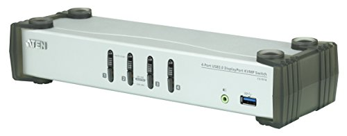 ATEN CS1914 4-Port USB 3.0 DisplayPort KVM Switch Silber