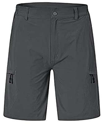Rdruko Men's Stretchy Quick Dry Cargo Shorts Hiking Cycling Camping Travel Shorts with 6 Pockets(Dark Grey, US 34)