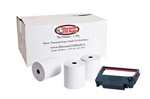 Compatibile con Epson TM-U220 **Tutti i modelli** 76 x 70 mm 1 strato (non termico) rotoli di carta a singolo strato, per stampanti a matrice di punti e cucina - 50 rotoli