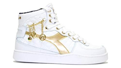 Diadora Damen Mi Basketball Charme Wn, Leder/Nylon, Sneakers, Weiß, Weiß - Bianco - Größe: 36.5 EU