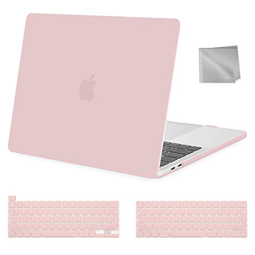 MOSISO MacBook Pro 13 inch Case 2020 2019 2018 2017 2016 Release A2289 A2251 A2159 A1989 A1706 A1708, Plastic Hard Shell&Keyboard Cover&Wipe Cloth Compatible with MacBook Pro 13 inch, Rose Quartz
