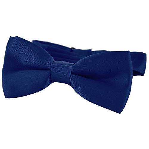 DonDon® Edle Kinder Fliege gebunden und längenverstellbar 9 x 4,5 cm dunkelblau glänzend in Seiden Look