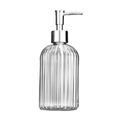 Abfüllbarer, nachfüllbarer Seifenspender mit rostfreiem Pumpenglas-Handseifenspender - transparent