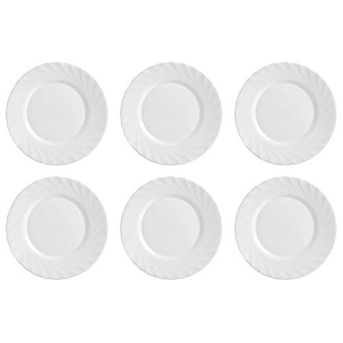 Luminarc Frühstücksteller Teller 'Trianon', Ø 19,5cm, Opalglas, weiß (6 Stück)