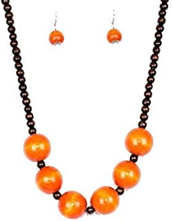 Erica's Boutiques Orange Wooden Bead Necklace & Earrings Set - Fashion Jewelry for Women