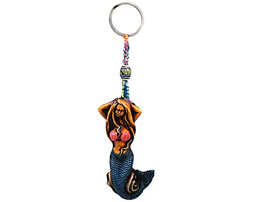 Mermaid Fantasy Handpainted Figurine Dangle Handmade Keychain Multicolored Braided Macramé Bead Silver Keyring Hanging Ornament Charm Car Bag Accessory