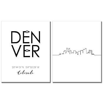 TnT Prints - Denver Colorado Cityscape Skyline Wall Art - Set of two  8x10  Skyline Art - Black and White Poster
