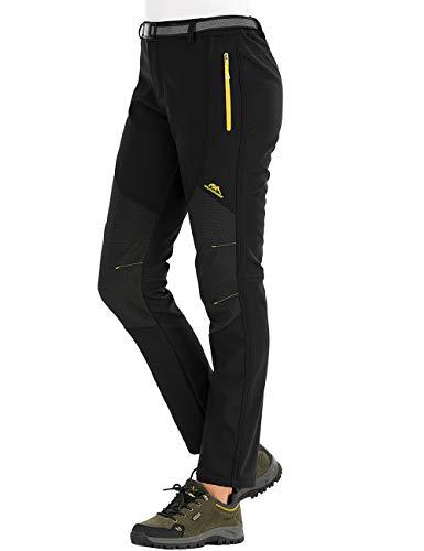 DAFENP Damen Wanderhose Outdoorhose Wasserdicht Softshellhose Winddicht Winter Warm Gefüttert Trekkinghose (L, C Schwarz)