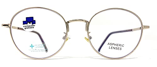 New Model Gafas de lectura con filtro bloqueo luz azul para gaming, ordenador, móvil. ULTIMA MODA Anti fatiga GOLD LENNON unisex Venice (Gold, +0,00 Sin Graduar)