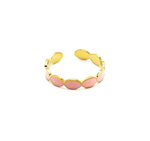 Oh My Shop BG1331 - Anillo fino con ovalado esmaltado rosa pálido y acero dorado