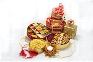Sukhadia's Indian Sweets & Nuts Gift Basket with Diya Candle, Fancy Variety Assortment (Large) - 22oz Assorted Sweets & 16oz Premium Nuts
