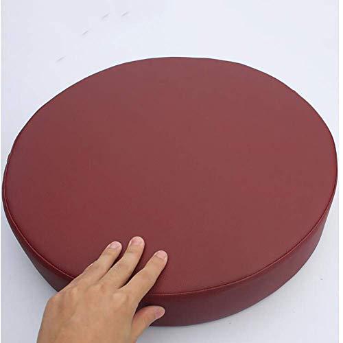 Cojín asiento cuero sintético grueso, redondo, un solo color, cojín asiento impermeable, espuma viscoelástica Funextraíble Puf antideslizante, rojo púrpura, 50 x 50 x 5 cm (20 x 20 x 2 pulgadas)