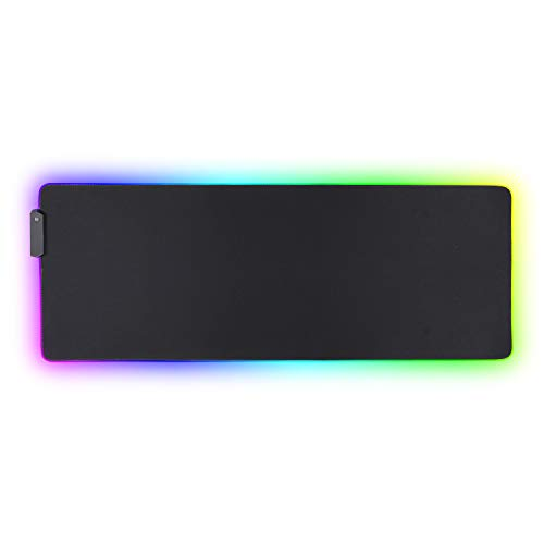 Lawei Large RGB Gaming Mouse Pad - 31.5 x 11.8 Inch Glowing Led Mousepad with 14 Lighting Modes, Extended Soft Mousepad Computer Mice Mat with Non-Slip Rubber Base