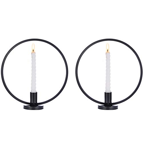 2 Pcs Taper Candle Holder Nordic Style Candlestick Geometric Tealight Holder Iron Art Globe Candle Holder Table Desk Stand Party Wedding Ornaments Living Room Home Decor, Black