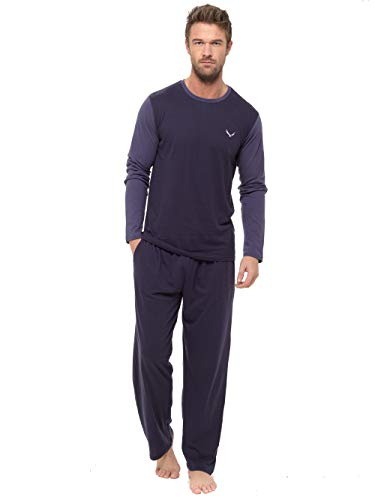 INSIGNIA Mens Pyjama Set Long Sleeve Top Pants Cotton Pjs BlueNavymidblue XL