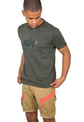 ALPHA INDUSTRIES Herren T-Shirt Vinyl Logo, Größe:L, Farbe:Dark Olive