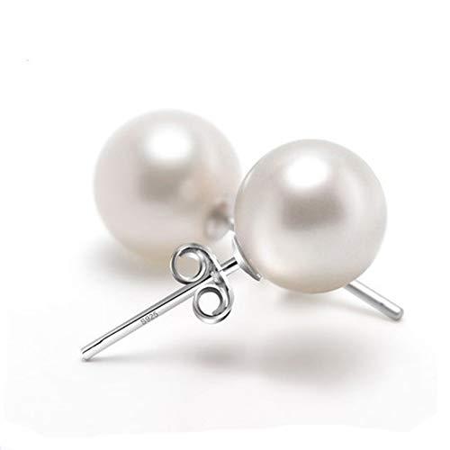 LORIEL Pendientes redondos de perlas para mujer, plata de ley 925, 6 mm/8 mm/10 mm, perlas cultivadas de agua dulce, pendientes de tuerca para mujer, como mejor regalo, 8 mm