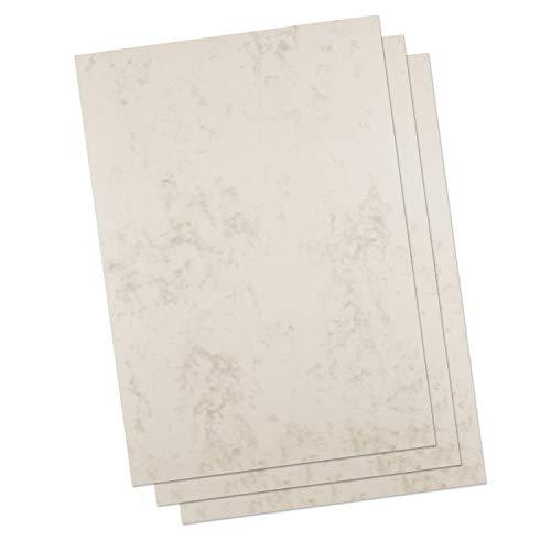 Betterpress® 50 Blatt Marmorkarton chamois 200 g, A4 – Beidseitig Marmoriertes Papier in hochwertiger Qualität – Druckerpapier marmoriert ideal als Speisekarte, Zertifikat und Urkunde