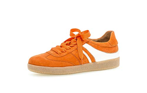 Gabor Damen Sneaker, Frauen Low-Top Sneaker,Best Fitting,Optifit- Wechselfußbett, Frauen weibliche Lady Ladies feminin,orange/Weiss,43 EU / 9 UK