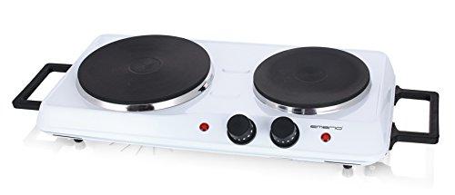 Emerio Doppelkochplatte, separate Thermostatregler, Kontrolleuchten, Haltegriffe, Weiß, HP-114482
