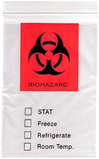 Reclosable Biohazard 3 Wall Specimen Transport Bags -. 12 x 15 x 2 mil - 3PLY