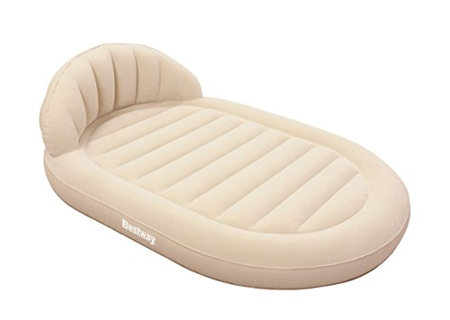 Bestway Double Airbed Royal Round Quick Inflation Air Mattress with Headrest, Off-White, 215 x 152 x 60 cm