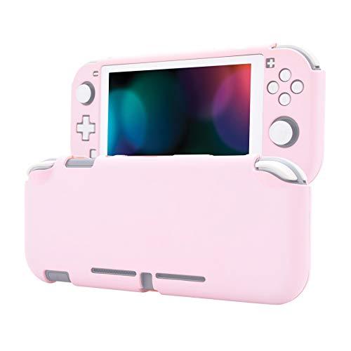 eXtremeRate PlayVital Cover Custodia Protettiva per Nintendo Switch Lite Copertura Console Shell Case Rigido con Protezione Schermo in Vetro Temperato(Sakura Rosa&Bianco)