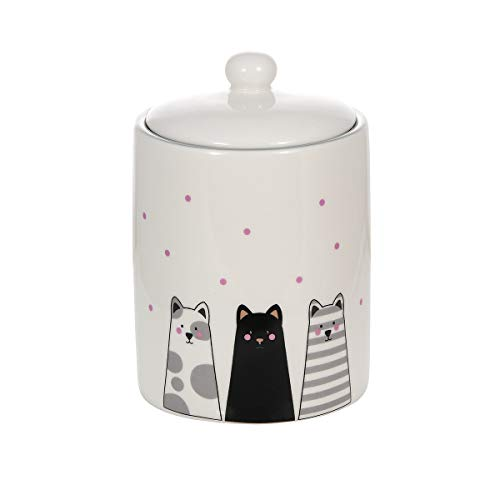 Céramique récipient bocal, bocal en céramique avec couvercle hermétique pour la maison et la cuisine avec chat decoratif, cadeau chat original