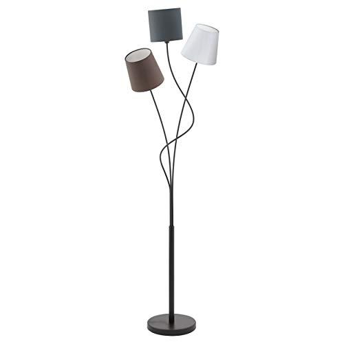 EGLO Stehlampe Maronda, 3 flammige Stehleuchte, Standleuchte aus Stahl und Stoff, Farbe: schwarz, anthrazit, weiß, braun, Fassung: E14, inkl. Trittschalter
