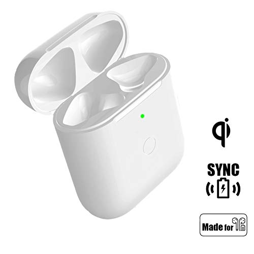 NeotrixQI Qi Wireless Charging Case Replacement Compatible with AirPod 1 2 with Sync Bluetooth Pairing Button, Protective AirPods Charger Cover Built-in Battery 5 Times Full Charge (White)