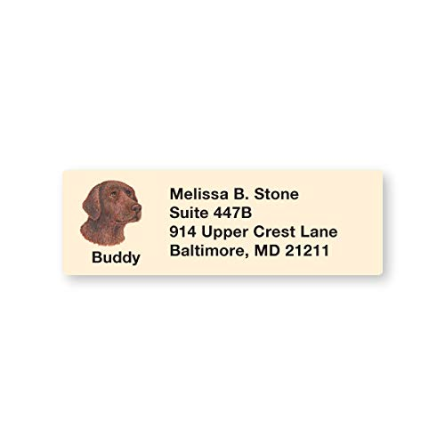 Chocolate Labrador Set of 215 Personalized Sheeted Return Address Labels