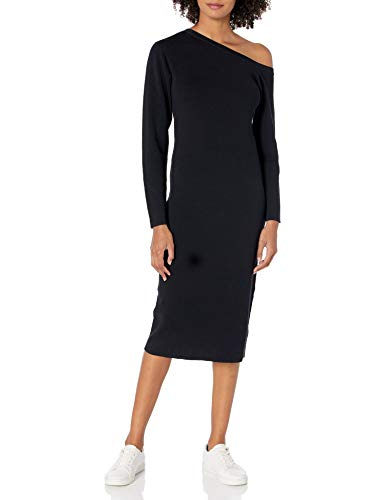 The Drop Women's Giselle Asymmetric Neckline Midi Sweater Dress