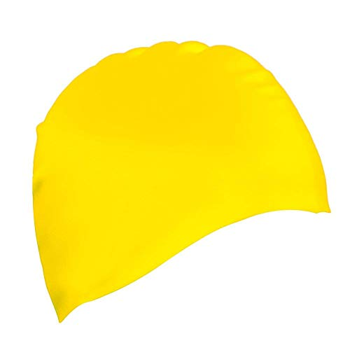 Dreamslink Swim Cap, Comfortable Solid Silicone Swim Caps Fit for Long Hair and Short Hair, Swimming Cap for Men Women Adult Youths (Yellow)