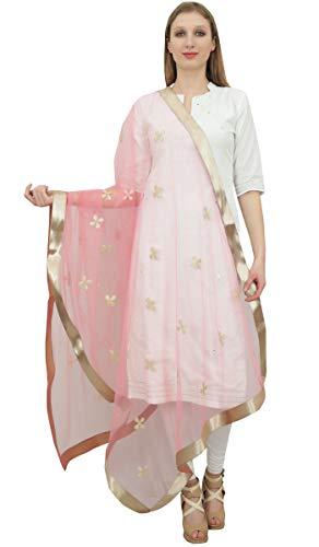 Phagun Frauen-Ansatz-Verpackungs-Designer Net Dupatta Indian lange Stola Einwurf Rosa