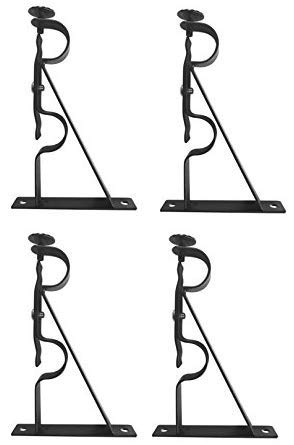 TEJATAN Double Curtain Rod Brackets - Black (Set of 4 Brackets)