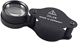 Mini Pocket Magnifier 30X 26MM Foldable Handheld Jewelry Loupe Metal Reading Magnifying Glasses Black for Small Prints, Coins,Science, Low Vision, Gift for Seniors and Kids