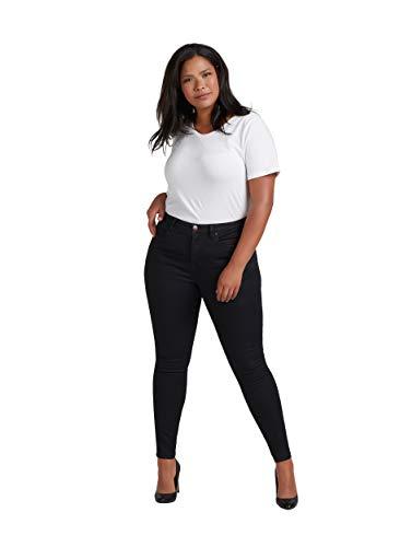 Zizzi Amy Damen Jeans Super Slim Jeanshose Stretch Hose Große Größen 42-56, Schwarz, 48 / 82 cm