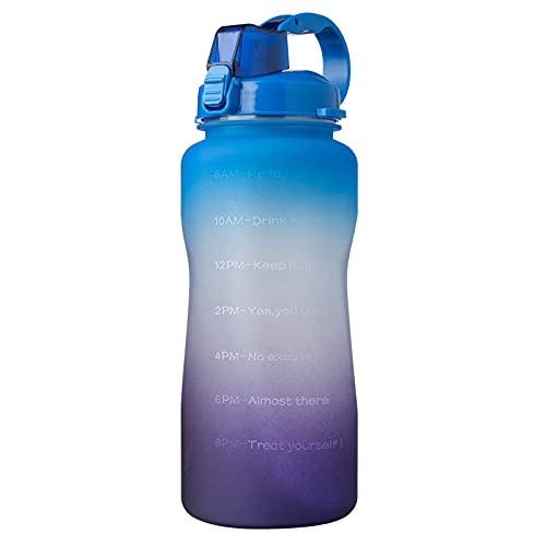 QAZW Half Gallon/64oz Motivational Water Bottle with Time Marker, Leakproof BPA Free Water Jug to Remind You Drink More Water,Blue/Purple-3.8L