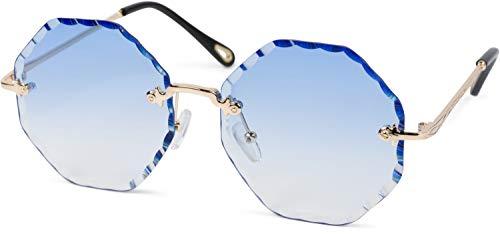 styleBREAKER Damen Runde Sonnenbrille Rahmenlos mit getönten Gläsern im Diamant Schliff, Geprägte Bügel, Vieleckige Gläser 09020118, Farbe:Gestell Gold/Glas Blau Verlauf