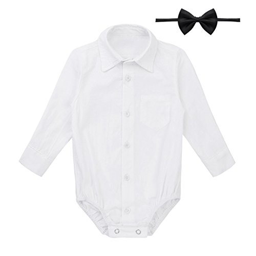 TiaoBug Baby Hemd-Body Langarm mit Kragen Strampler Baby-Jungen Hemd festlich Bodysuit Anzug Hemd für Hochzeit Taufe Geburtstag Geschenk Sommer Kleidung Weiß mit Fliege 86