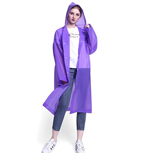Reusable Rain Ponchos, Waterproof EVA Rain Coat, Buttons Raincoat with Drawstring Hood for Sports, Hiking, Camping, Travel and Safety Protection (Purple)