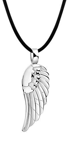 Nenalina Damen Halskette aus Kautschuk schwarz mit Engelsflügel Anhänger, Kautschukkette für Frauen mit Flügel poliert, Damen-Kette mit 925 Sterling Silber Verschluss, Länge 42cm