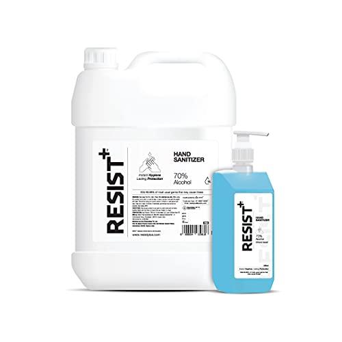RESIST+ Hand Sanitizer Ethanol | 70% Alcohol | Kills 99.99% Germs | 5 Litre + 500 ml with Pump Dispenser